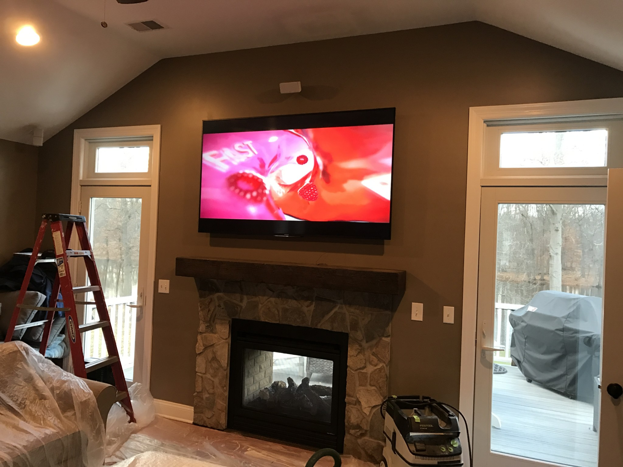 How High To Mount Tv On Wall In Bedroom Flush Mounted Tv With Tile To Ceiling Tv Fireplace T