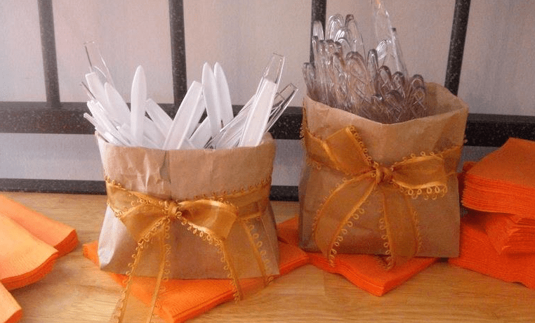 Brown Lunch Bags for Serving Utencils