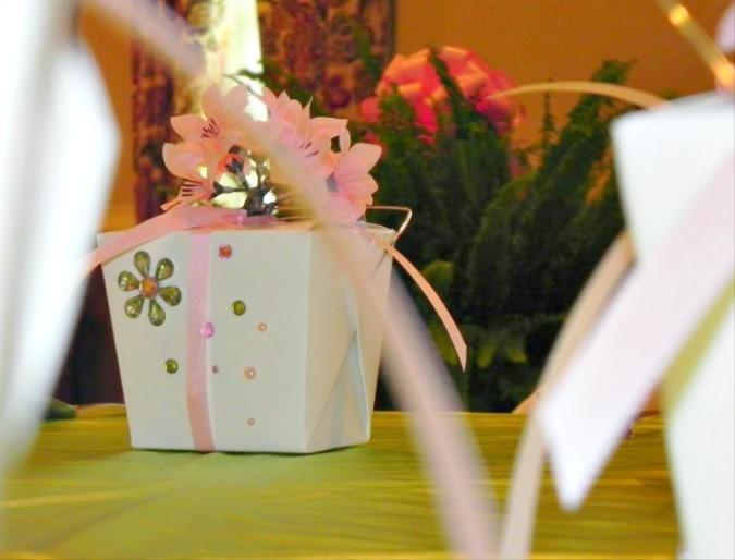 Cherry Blossom event tablescape gift box ideas.intelligentdomestications.com