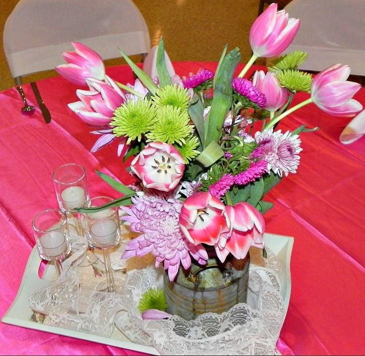 Tablescape centerpiece for Cherry Blossom theme event.intelligentdomestications.com