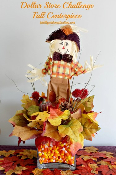 Fall Centerpiece created for the Dollar Store Fall Decor Challenge by intelligentdomestications.com