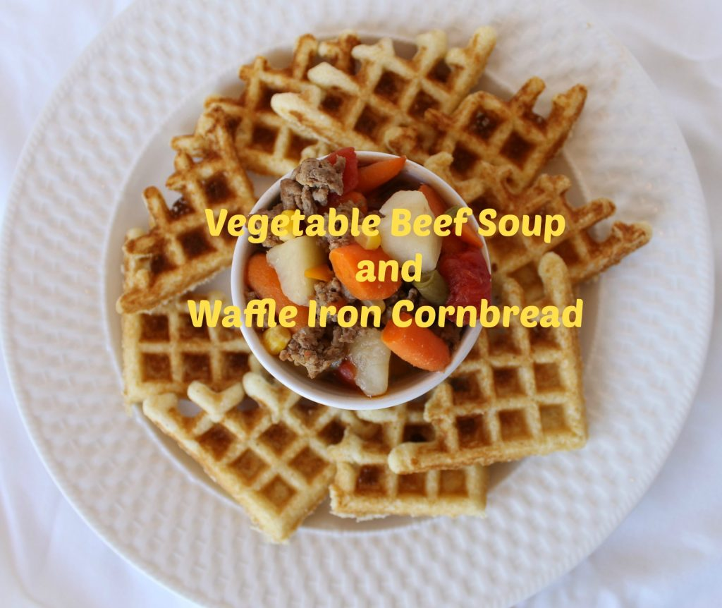 Homemade Vegetable Meat Soup Served with Waffle Iron Corn Bread. Find these and more recipes at www.intelligentdomestications.com