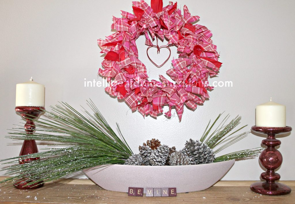 Valentine mantlescape with Faux iced winter branches.intelligentdomestications.com