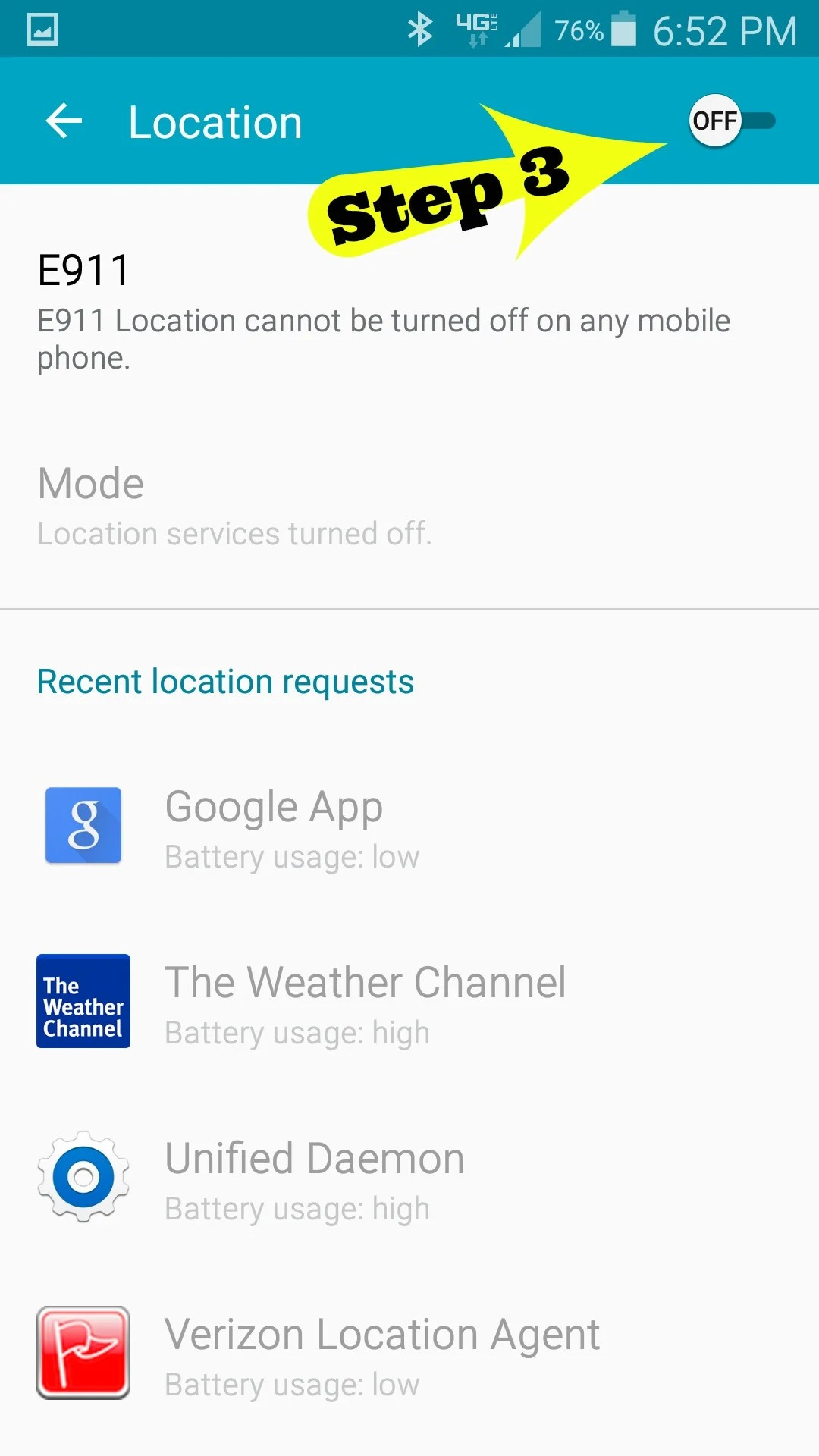 Step 3 of How to turn off locations on your Android phone