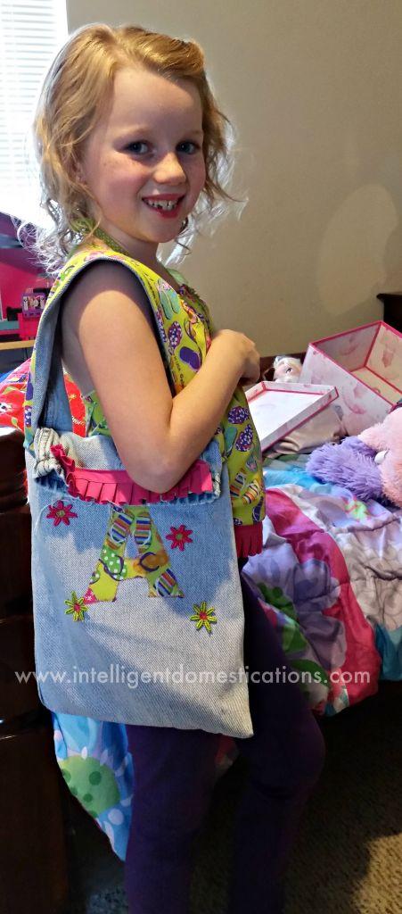 A Girls Bandana Top with Matching Repurposed Denim Bag.www.intelligentdomestications.com