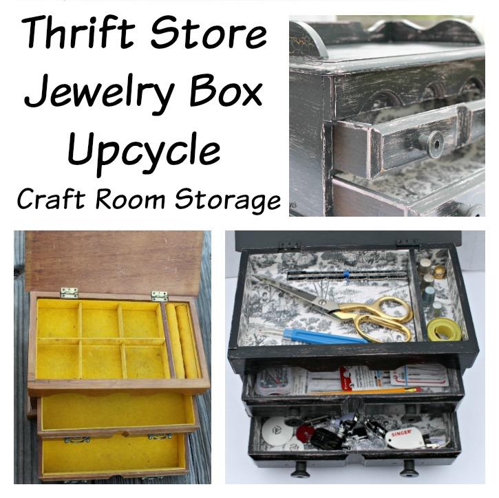 Thrift Store Jewelry Box Upcycle. Craft Room Storage project 725x724.intelligentdomestications.com