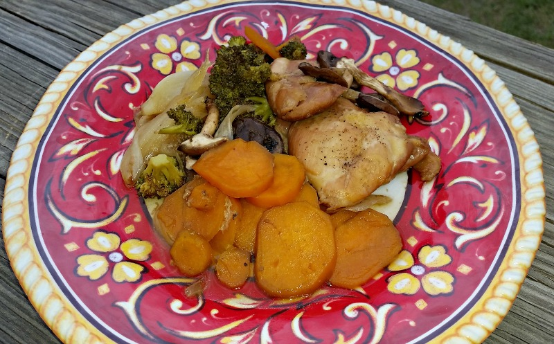 Broccoli, Yams, Mushrooms, Onions & Chicken Thighs Foil packet dinner are easy to cook and even easier to clean up