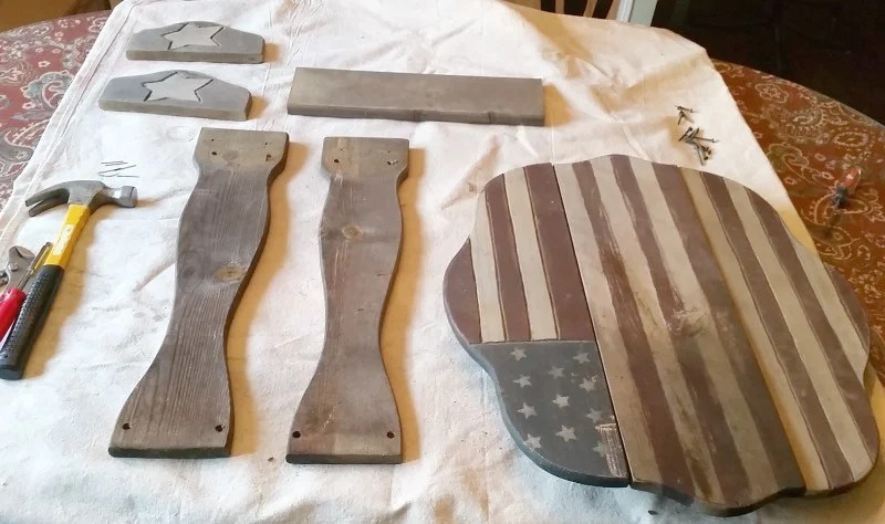 Flag porch table completely disassembled for painting