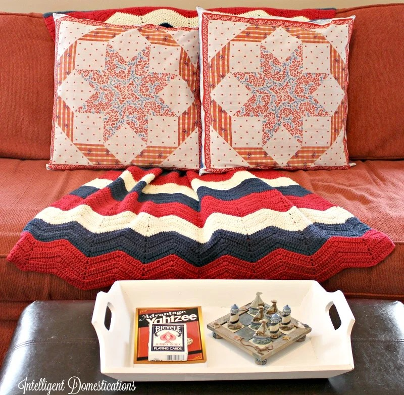 Thrift store fabric for less than $2 created a whole new look for our summer den decor