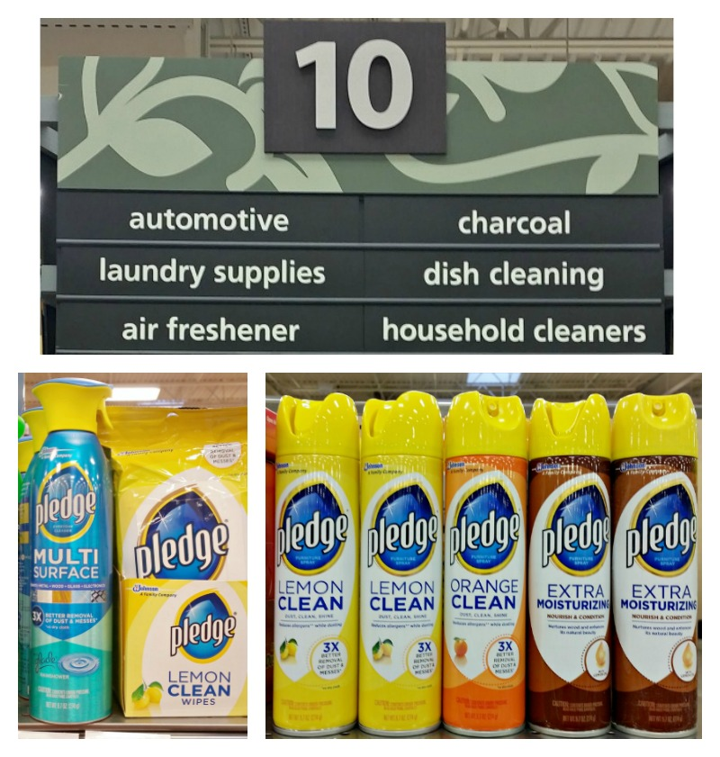 You can find a nice selection of Pledge products on the Household cleaners isle at your local Kroger store