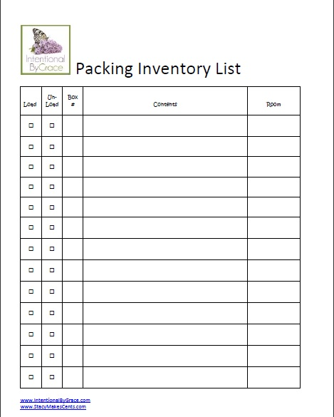 packing inventory list template