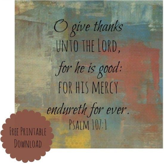 O Give Thanks free printable download