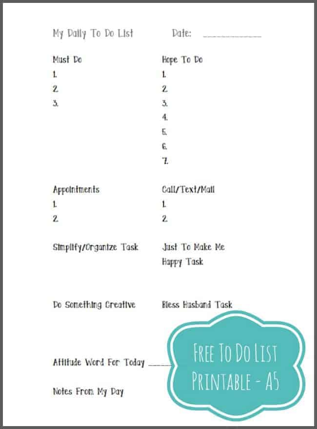 My Daily To Do List Printable A5