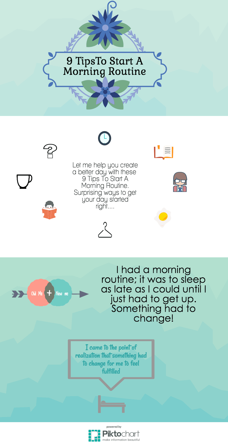 Let me help you create a better day with these 9 Tips To Start A Morning Routine. Surprising ways to get your day started right....