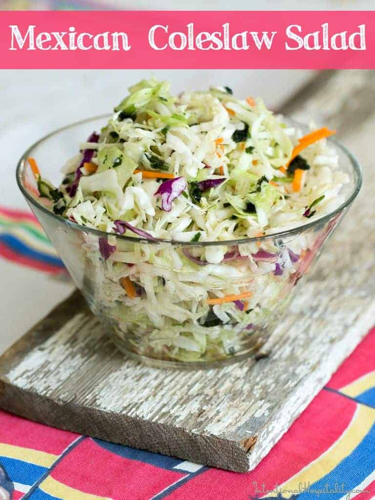 Mexican Coleslaw Salad | I little bit of spice and a touch of sweetness makes this Mexican Coleslaw a perfect side salad for your next Mexican meal.