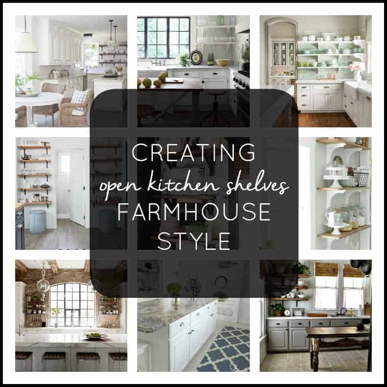 Creating open kitchen shelves farmhouse style in your own kitchen.