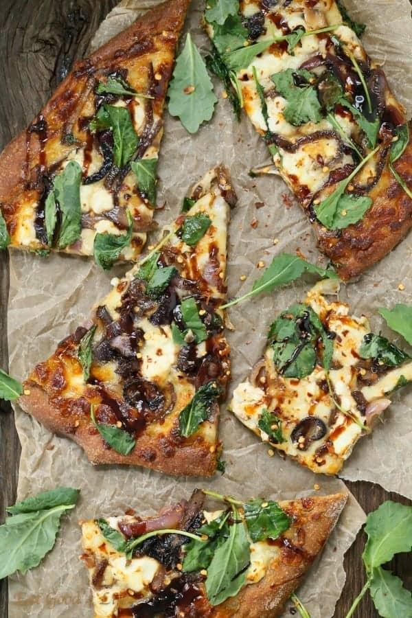 caramelized onions kale goat pizza