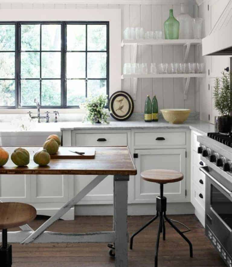 Open kitchen shelves farmhouse style intentional hospitality for Small white country kitchen