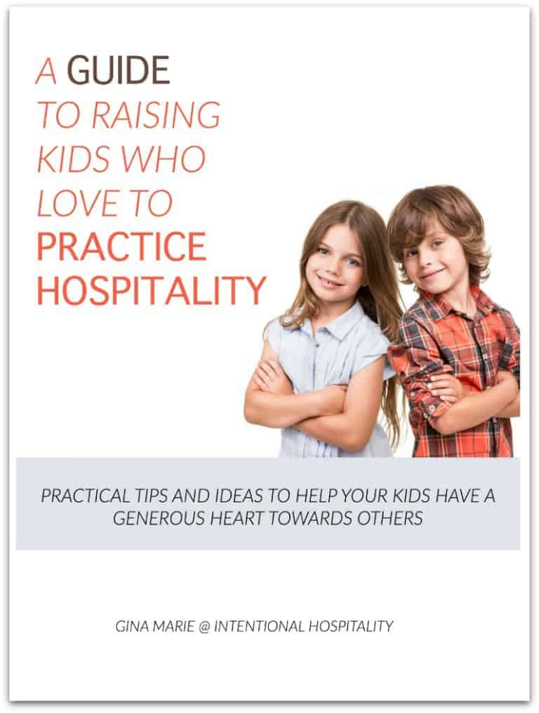 A Guide To Raising Kids Who Love To Practice Hospitality is full of practical tips, fun ideas, stories, and printables to help you teach your kids to have a generous and hospitable heart towards others.