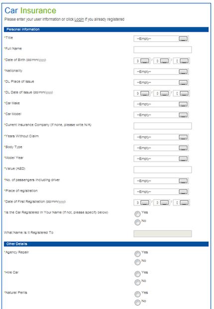 PriceFinder Car Insurance Form