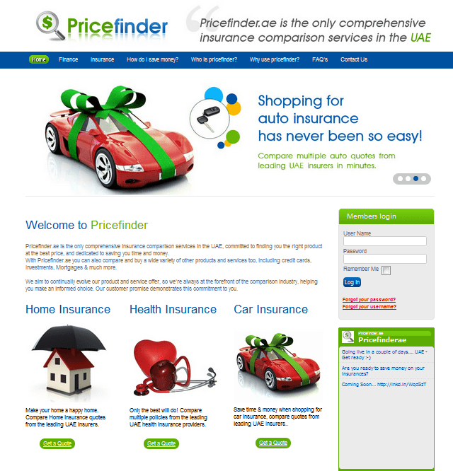 PriceFinder homepage