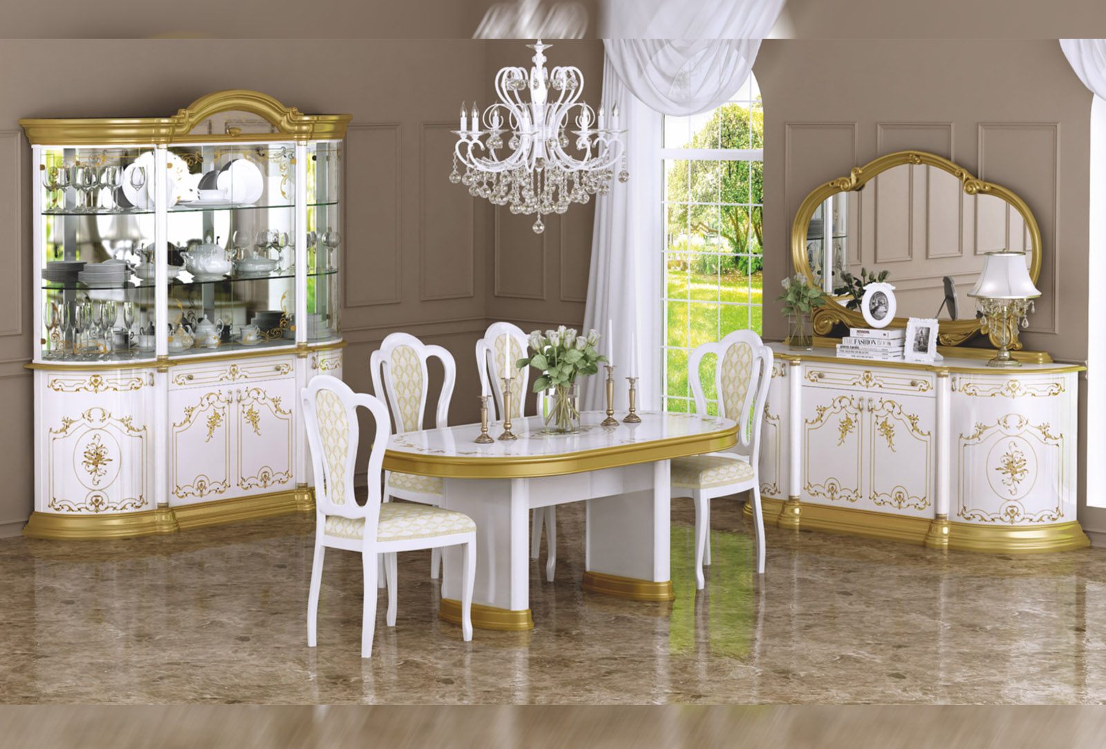 Barock Esszimmer Remo In Weiss Gold 8 Teilig