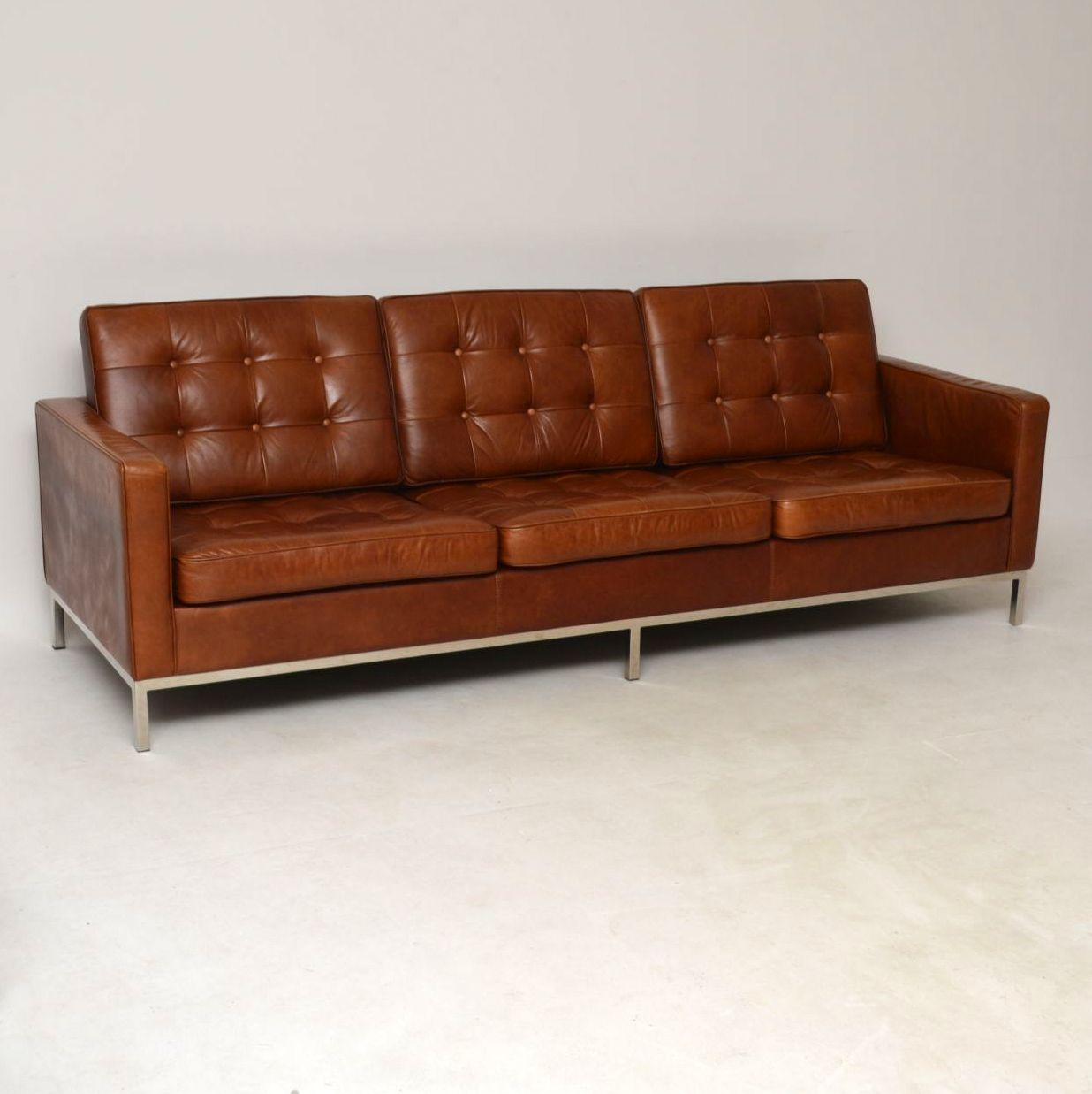 Florence Knoll Sessel Vintage Florence Knoll Leather Chrome Sofa