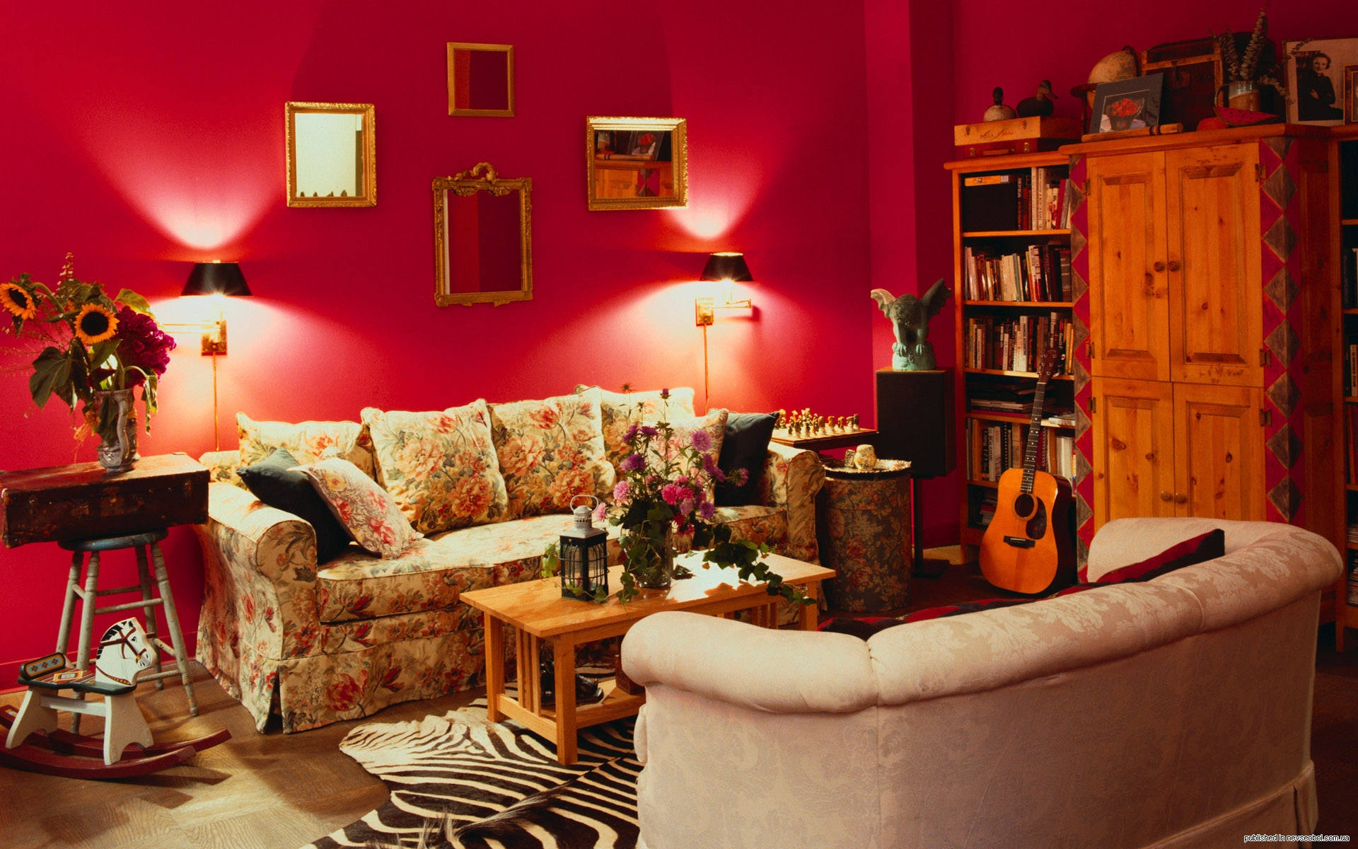 Red Wall Living Room Interior Colors Inspiration And Design