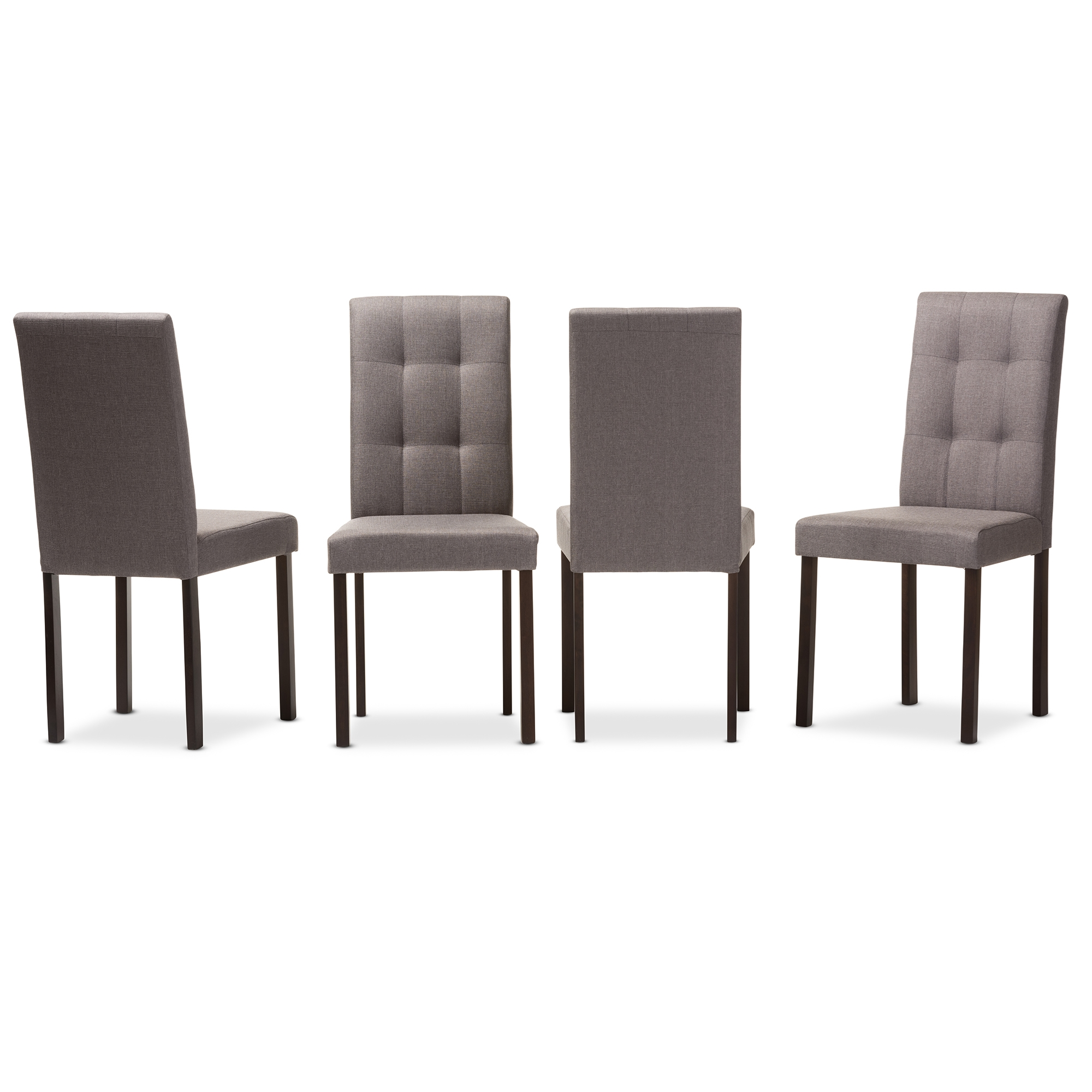 Dining Room Chair Fabric Baxton Studio Andrew Modern And Contemporary Grey Fabric Upholstered Grid Tufting Dining Chair