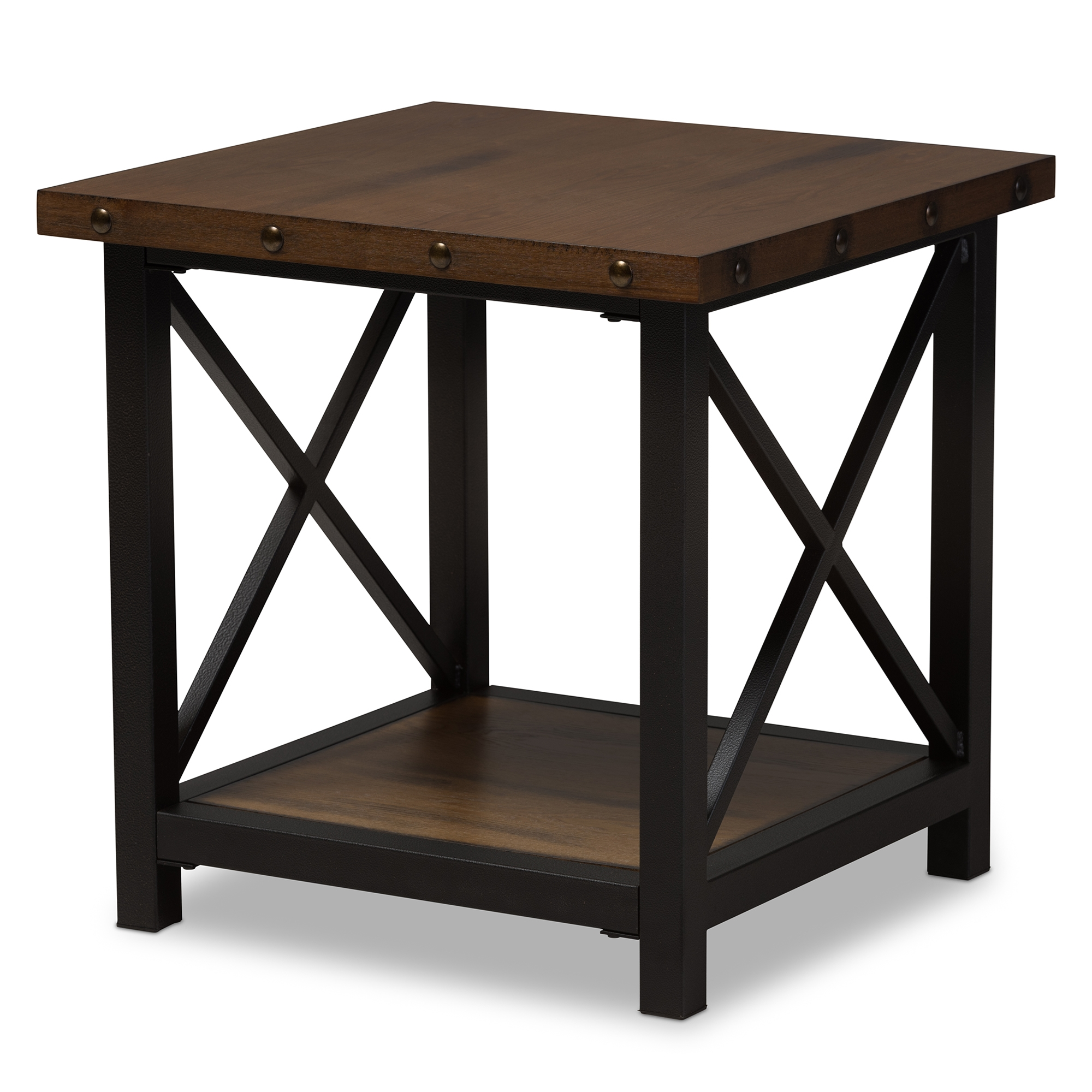 Black End Tables With Drawer Baxton Studio Herzen Rustic Industrial Style Antique Black Textured Finished Metal Distressed Wood Occasional End Table