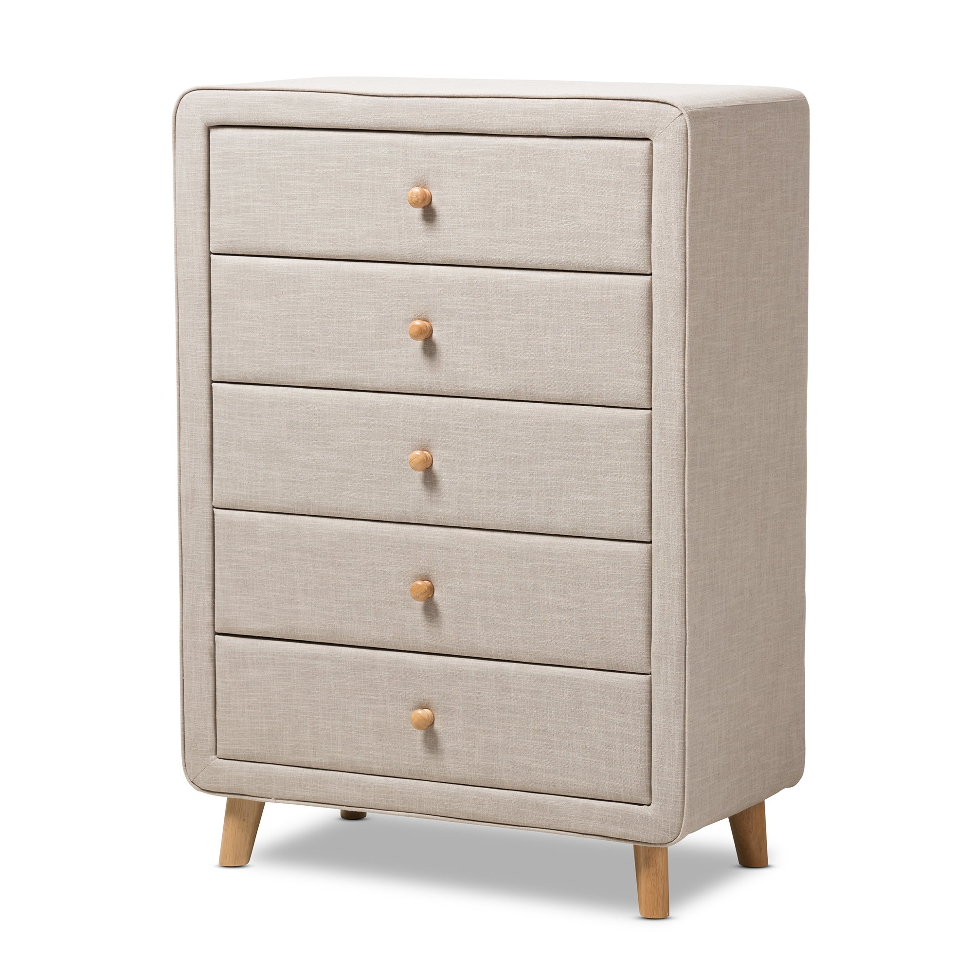 12 Drawer Chest Of Drawers Baxton Studio Jonesy Mid Century Beige Linen Upholstered 5 Drawer Chest