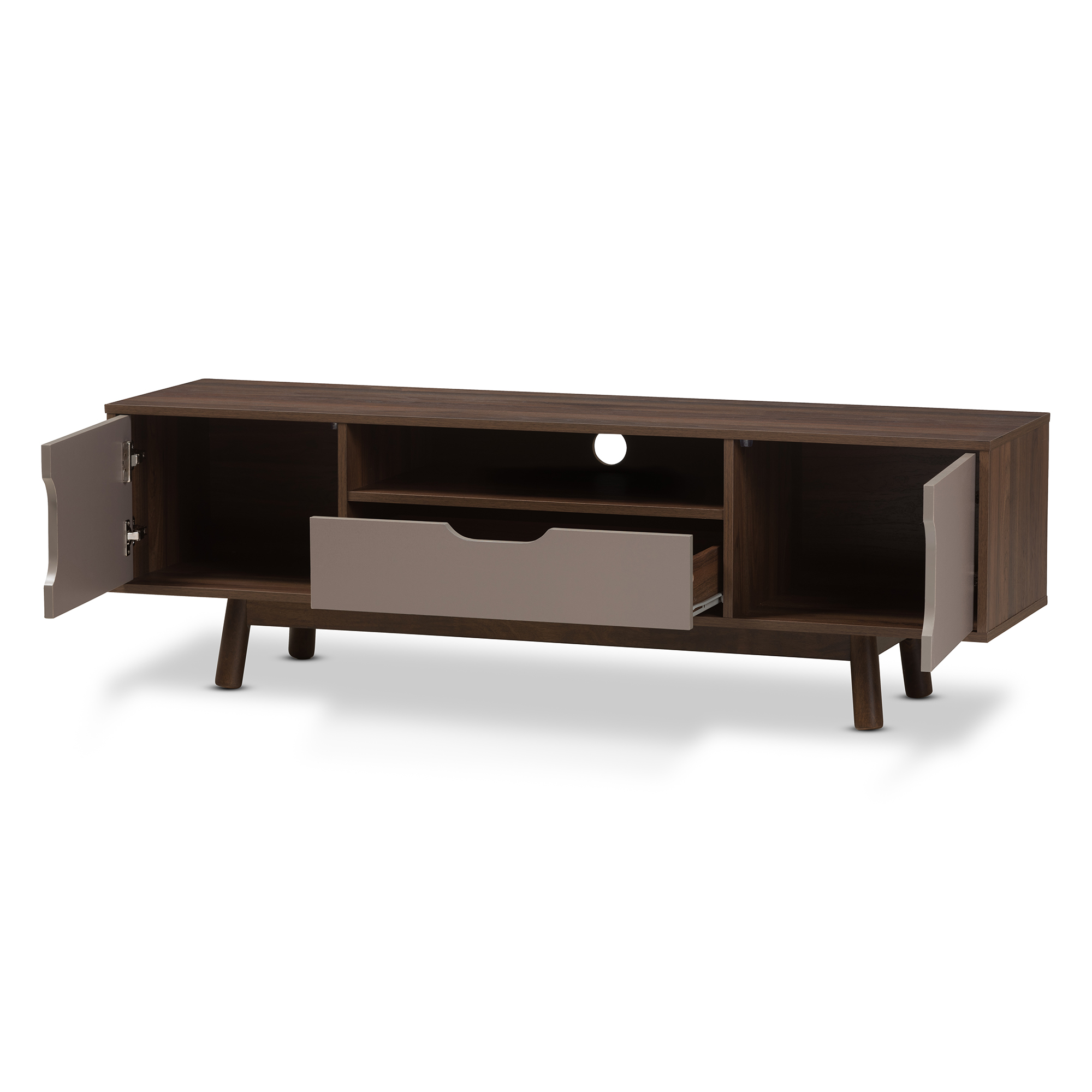 Tv Sideboard Modern Baxton Studio Britta Mid Century Modern Walnut Brown And Grey Two Tone Finished Wood Tv Stand