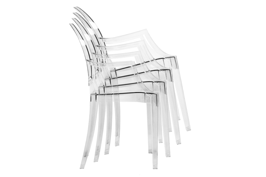Chaise Ghost Ghost Chair - Clear Acrylic Stackable Arm Chair | Interior