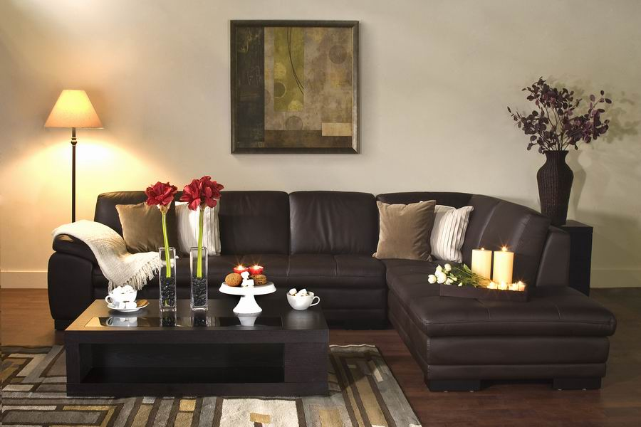 Couch Sofas Diana Brown Leather Modern Sectional Sofa W/ Chaise