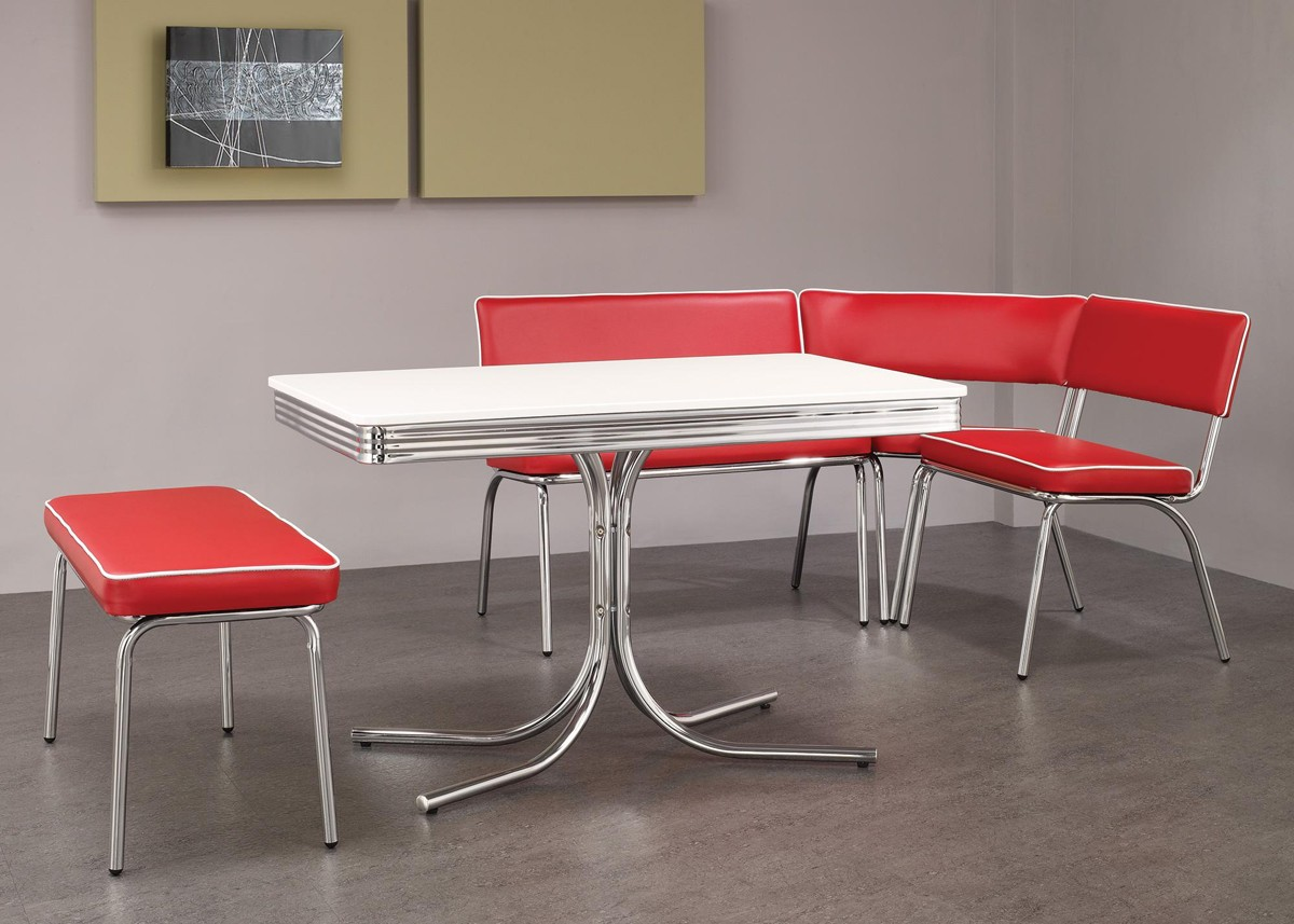 Red retro kitchen table chairs