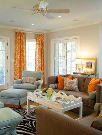 20 Living Room Designs with Brown, Blue and Orange Accents