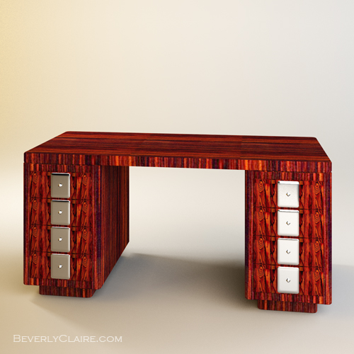3d Wallpaper Decorating Ideas Art Deco Desk In Rosewood Amp Chrome Beverly Claire