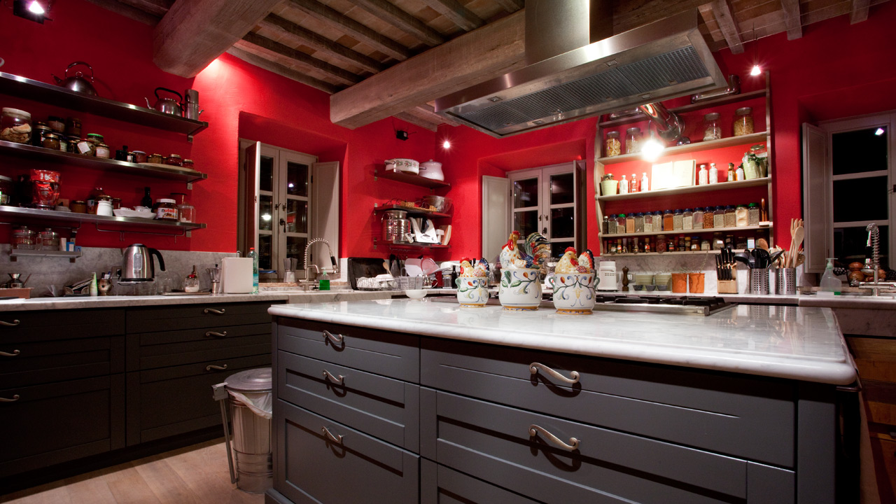 Charcoal Gray Red Kitchen In Tuscany - Interiors By Color