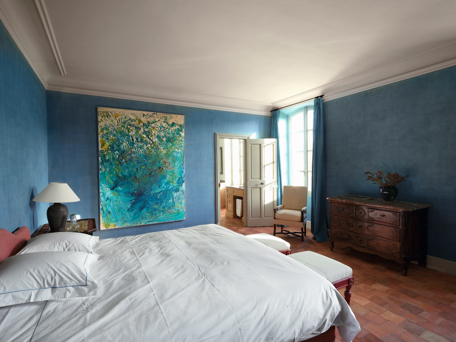 Light Gray Paint Tranquil Blue Bedroom - Interiors By Color