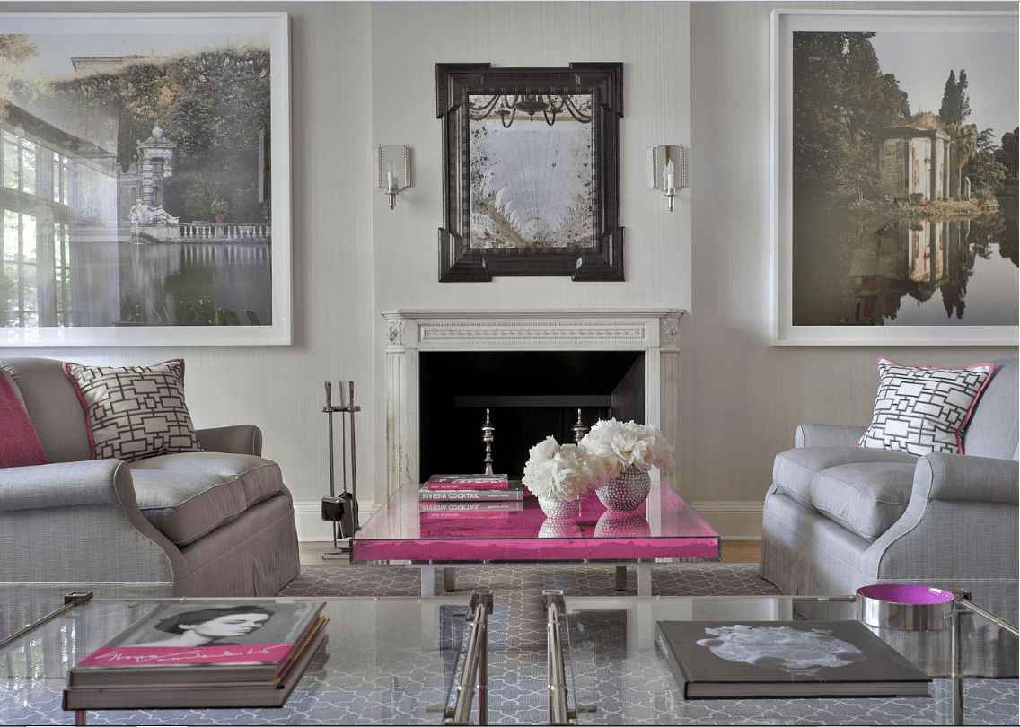 Pink And Grey Living Rooms Pink And Gray Space Interiors By Color