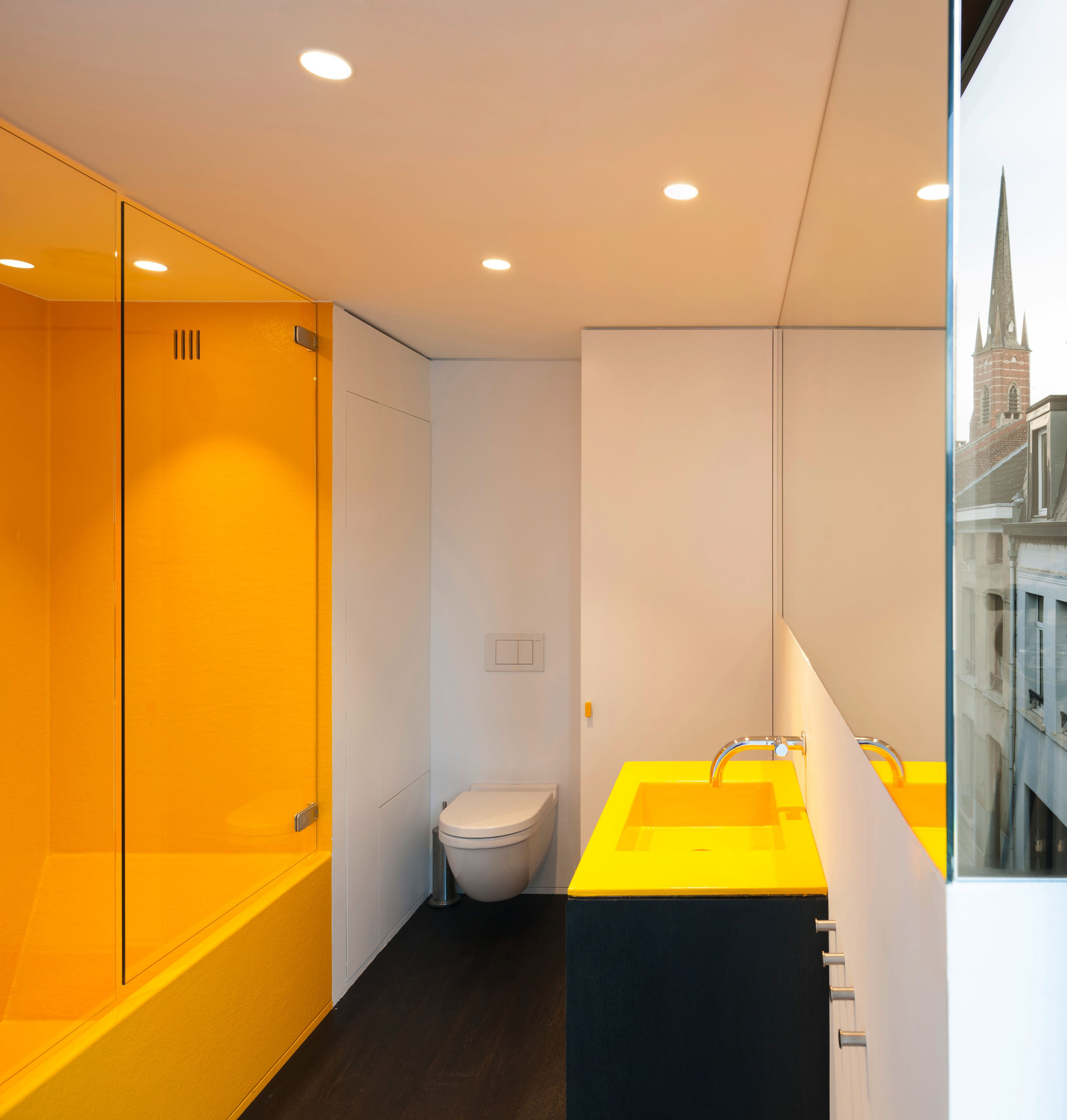 Idea Salle De Bain Modern Crisp Lines In Yellow - Interiors By Color
