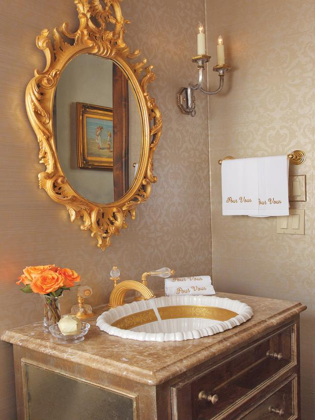 Badezimmer Interior Design Boards French Inspired Gold Bathroom - Interiors By Color
