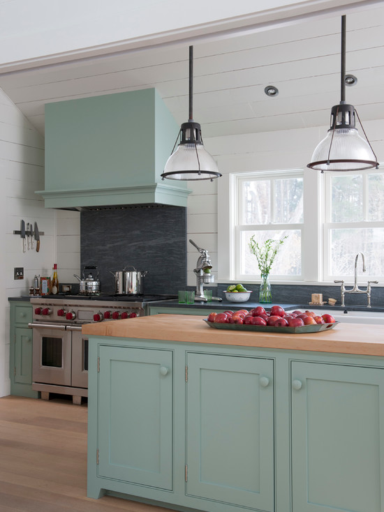 Rustic White Kitchen Island Blue Green Kitchen Cabinets - Interiors By Color