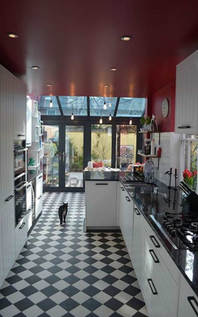 White Kitchen Dark Island Farrow & Ball Rectory Red Paint Color Schemes - Interiors