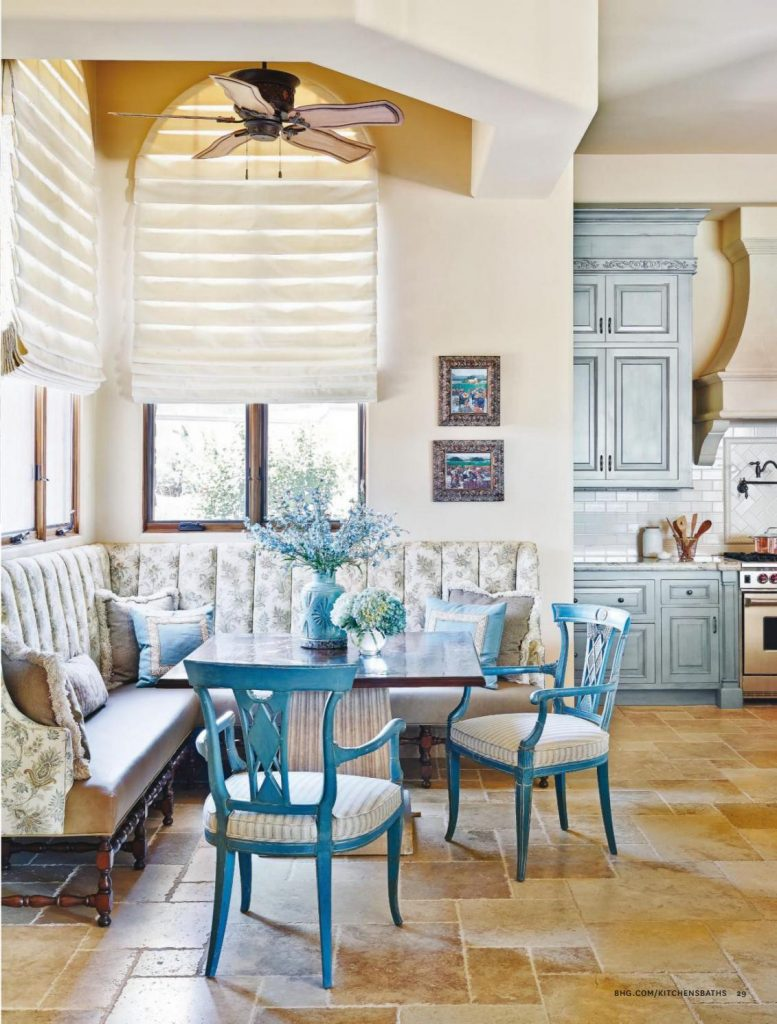 Light Gray Paint French Country Kitchen In Blue Color Scheme - Interiors By