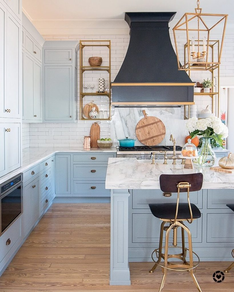 Paint Kitchen Cabinets White Or Black Light Blue Paint, Marble And Brass Kitchen Design