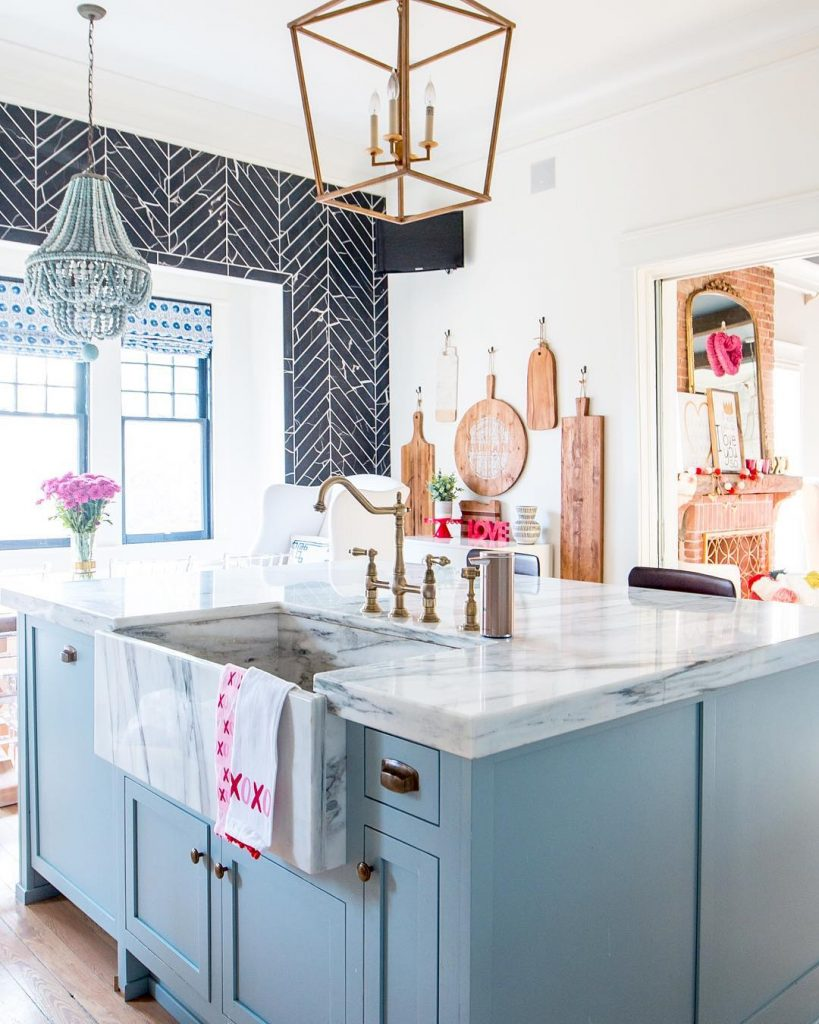 Pink Kitchen Paint Light Blue Paint Marble And Brass Kitchen Design Interiors By Color