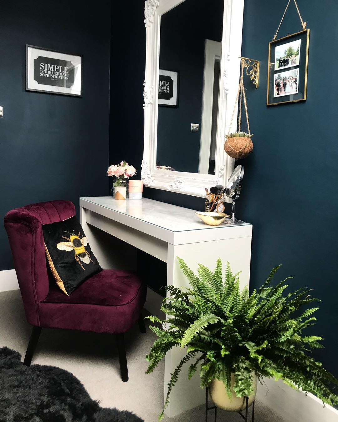 Charcoal Gray Farrow & Ball Hague Blue Paint Color Schemes - Interiors