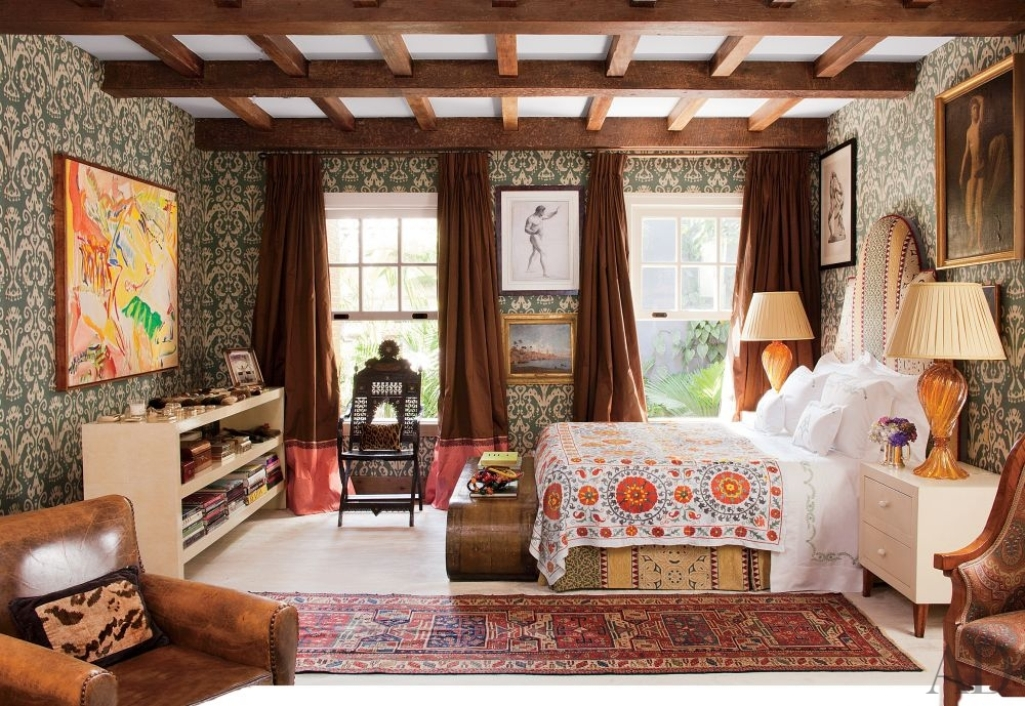 Rustic Upholstery Fabric Beautiful Boho Chic Bedroom Designs - Interior Vogue