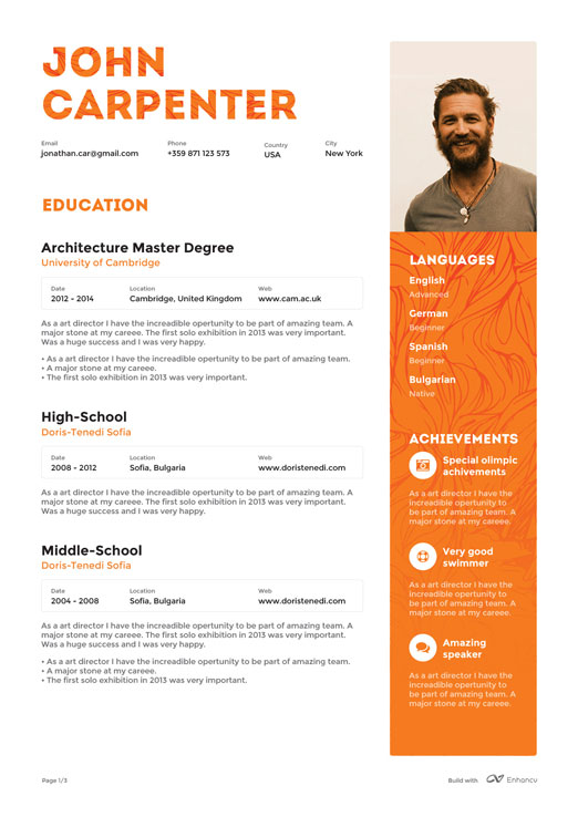 Color and a photo add a flare for setting yourself apart from the - two page resume template